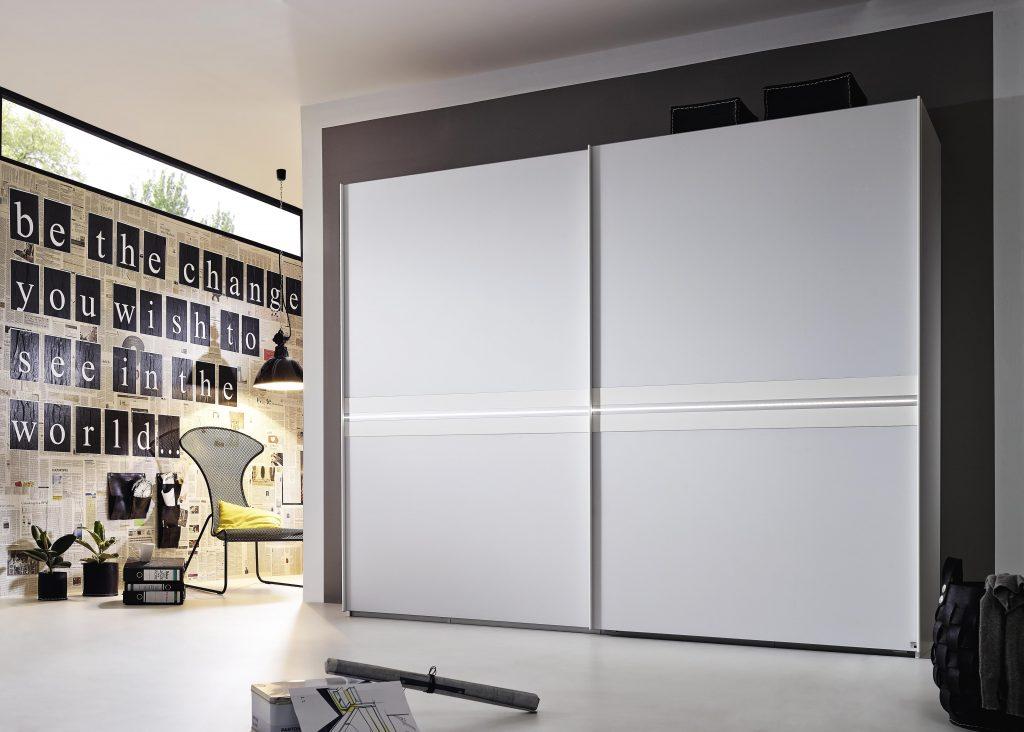 Rauch 20UP 4B Wardrobe White Glass